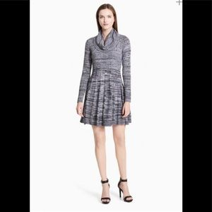 Calvin Klein Cowl Neck Marled Knit Sweater Dress Size Small Gray Black White